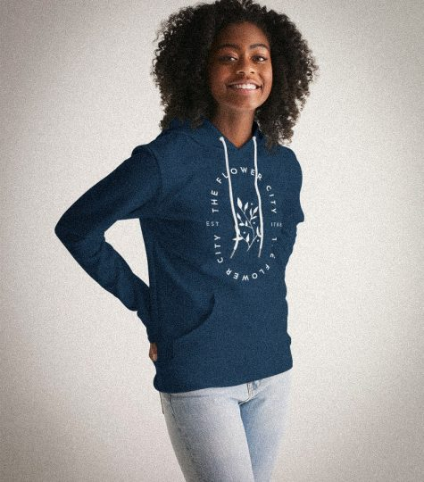 The Flower City Women's Hoodie in Blue - Rochester NY Gifts - Gray Gloria